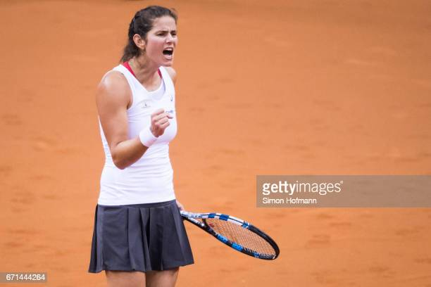 Julia Goerges of Germany celebrates against Elina Svitolina of Ukraine during the FedCup World Group PlayOff Match between Germany and Ukraine at...