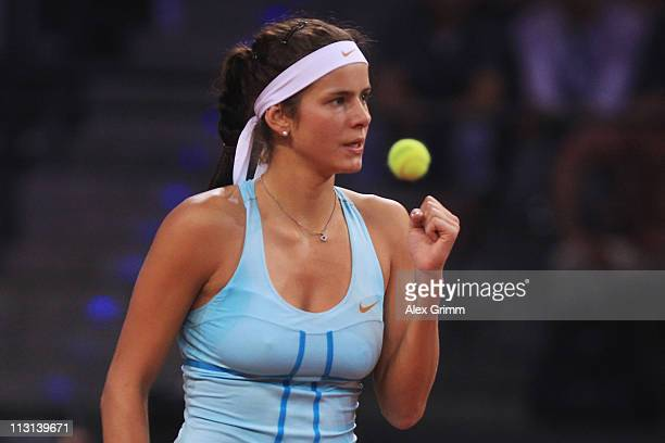 Julia Goerges of Germany celebrates during her Final match against Caroline Wozniacki of Denmark at the Porsche Tennis Grand Prix at Porsche Arena on...