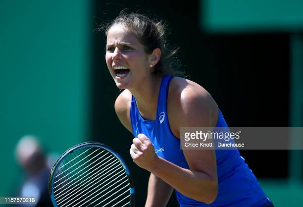 Julia Goerges of Germany celebrates during her semifinal match against Petra Martic of Croatia during day six of the Nature Valley Classic at...