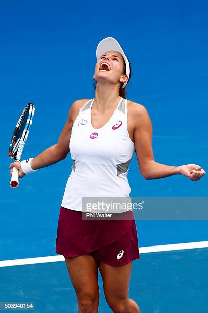 Julia Goerges of Germany celebrates the win against Tamira Paszek of Austria in their semifinal singles match during day five of the 2016 ASB Classic...