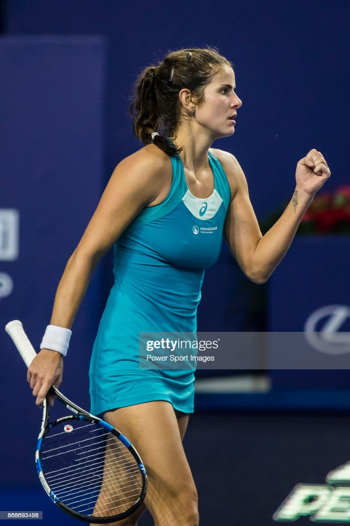 Julia Goerges of Germany celebrates winning a point during her first round match of the WTA Elite Trophy Zhuhai 2017 against Magdalena Rybarikova of Slovakia at Hengqin Tennis Center on October 31, 2017 in Zhuhai, China.