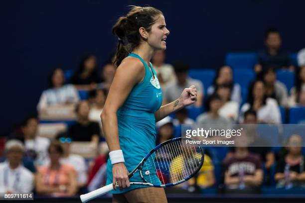 Julia Goerges of Germany celebrates winning a point during the singles Round Robin match of the WTA Elite Trophy Zhuhai 2017 against Kristina...