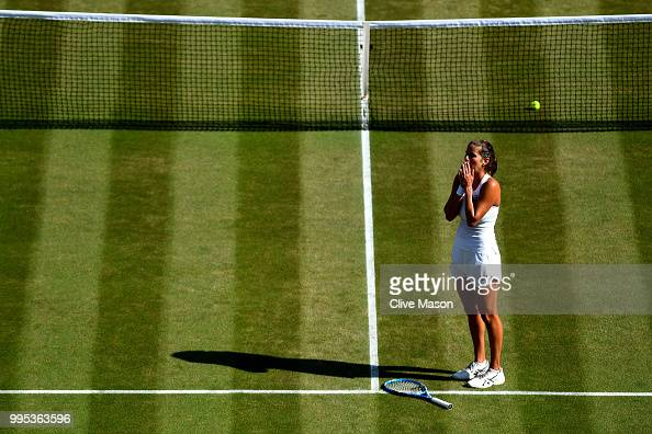 Julia Goerges of Germany celebrates winning her Ladies' Singles QuarterFinals match against Kiki Bertens of the Netherlands on day eight of the...