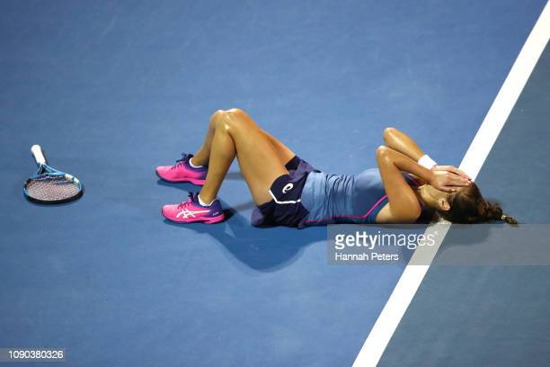 Julia Goerges of Germany celebrates winning the Women's Final against Bianca Andreescu of Canada on January 06 2019 in Auckland New Zealand