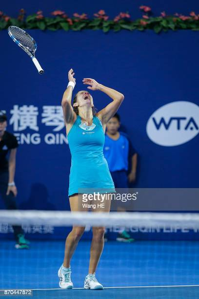 Julia Goerges of Germany celebrates wins the final match against Coco Vandeweghe of USA during the WTA Elite Trophy Zhuhai 2017 at Hengqin Tennis...