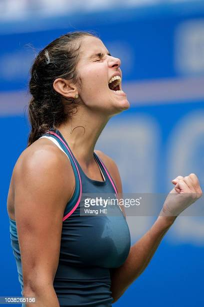 Julia Goerges of Germany celebration win the game against Marketa Vondrousova of Czech during 2018 Wuhan Open at Optics Valley International Tennis...