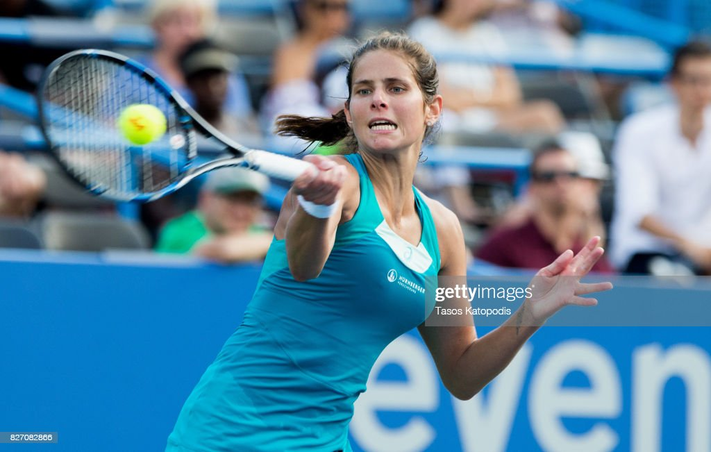 Julia Goerges of Germany competes with Ekaterina Makarova of Russia at William H.G. FitzGerald Tennis Center on August 6, 2017 in Washington, DC.
