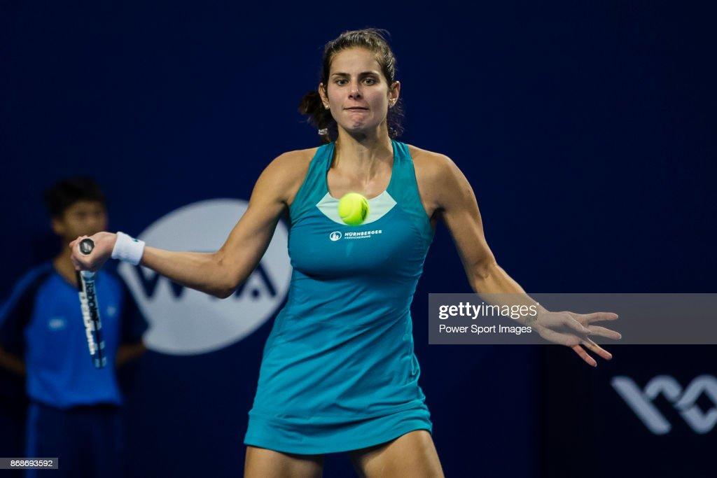 Julia Goerges of Germany hits a return during her first round match of the WTA Elite Trophy Zhuhai 2017 against Magdalena Rybarikova of Slovakia at Hengqin Tennis Center on October 31, 2017 in Zhuhai, China.