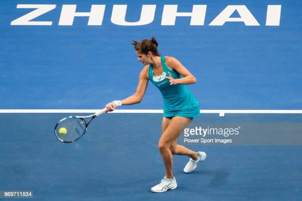 Julia Goerges of Germany hits a return during the singles Round Robin match of the WTA Elite Trophy Zhuhai 2017 against Kristina Mladenovic of France...
