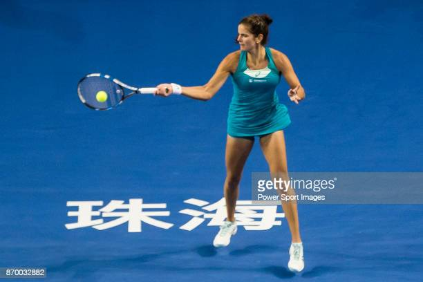 Julia Goerges of Germany hits a return during the singles semi final match of the WTA Elite Trophy Zhuhai 2017 against Anastasija Sevastova of Latvia...