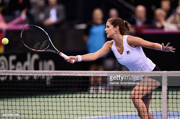 Julia Goerges of Germany in action during the Fed Cup 2015 World Group First Round tennis between Germany and Australia at PorscheArena on February 8...