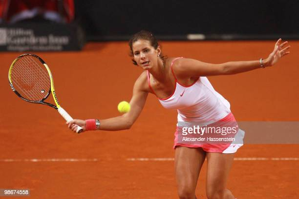 Julia Goerges of Germany plays a fore hand during her doubles match between Julia Goerges / Jasmin Woehr of Germany and Liga Dekmeijere of Latvia /...