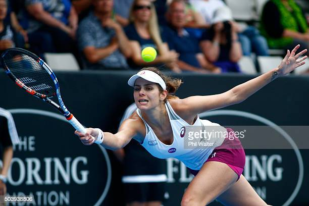 Julia Goerges of Germany plays a forehand against Tamira Paszek of Austria in their semifinal singles match during day five of the 2016 ASB Classic...