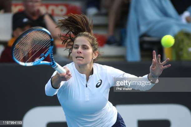 Julia Goerges of Germany plays a forehand in her first round match against Greet Minnen of Belgium during day two of the 2020 ASB Classic at ASB...