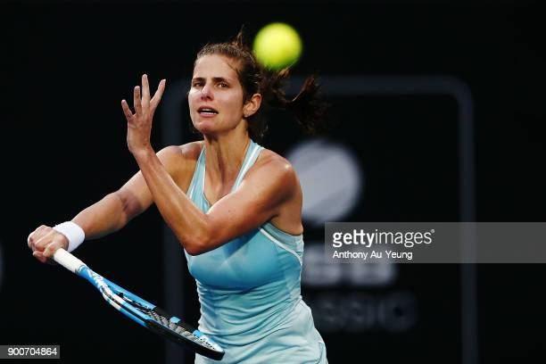 Julia Goerges of Germany plays a forehand in her match against Viktoria Kuzmova of Slovakia during day three of the ASB Women's Classic at ASB Tennis...