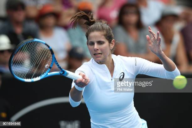Julia Goerges of Germany plays a forehand in her semifinal match against SuiWei Hsieh of Taiwan during day six of the ASB Women's Classic at ASB...