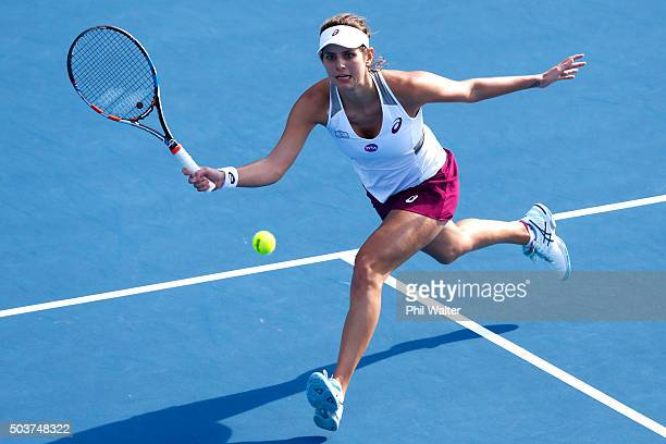 Julia Goerges of Germany plays a forehand in her singles match against Nao Hibino of Japan during day four of the 2016 ASB Classic at ASB Tennis...