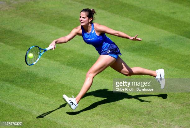 Julia Goerges of Germany plays a shot during her semifinal match against Petra Martic of Croatia during day six of the Nature Valley Classic at...