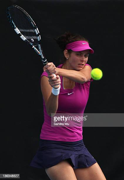 Julia Goerges of Germany plays a shot in her match against Greta Arn of Hungary during day two of the 2012 ASB Classic at ASB Tennis Centre on...