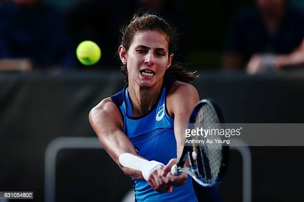 Julia Goerges of Germany plays a shot in her semi final match against Ana Konjuh of Croatia on day five of the ASB Classic on January 6 2017 in...