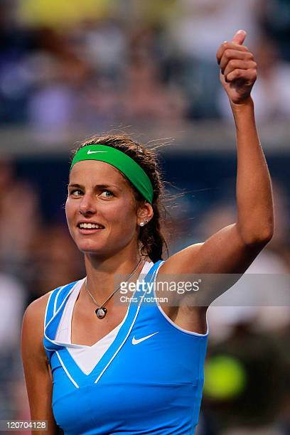 Julia Goerges of Germany reacts after defeating Jelena Jankovic of Serbia on Day 1 of the Rogers Cup presented by National Bank at the Rexall Centre...