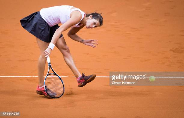 Julia Goerges of Germany reacts after missing a point against Elina Svitolina of Ukraine during the FedCup World Group PlayOff Match between Germany...