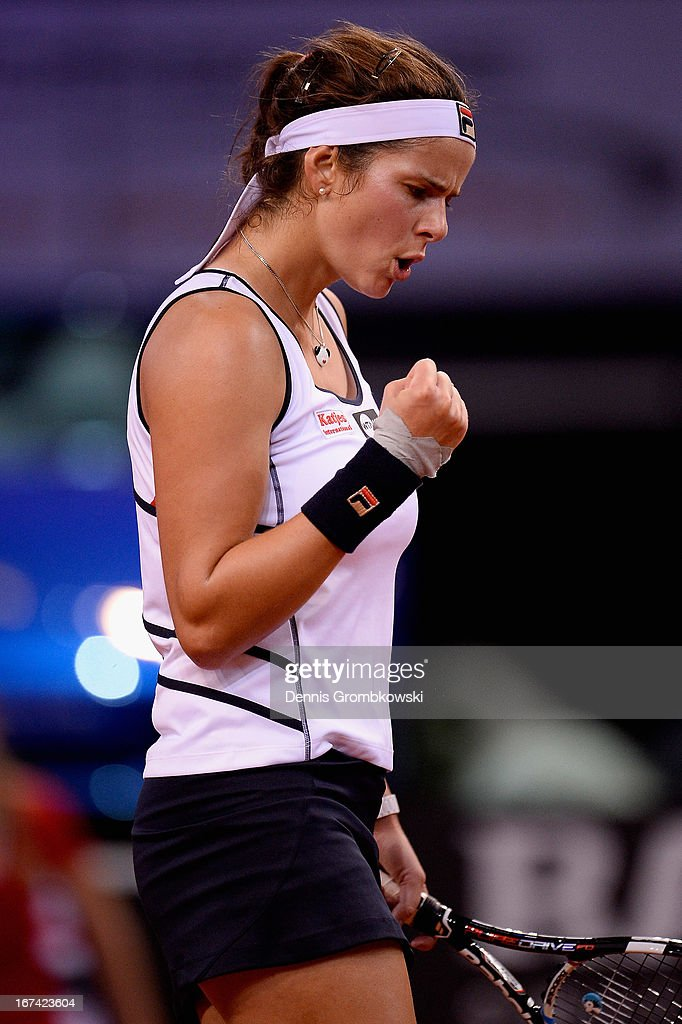 Julia Goerges of Germany reacts during her match against Petra Kvitova of Czech Republic during Day 4 of the Porsche Tennis Grand Prix at Porsche-Arena on April 25, 2013 in Stuttgart, Germany.