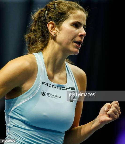Julia Goerges of Germany reacts during her St Petersburg Ladies Trophy 2018 semifinal tennis match against Petra Kvitova of Czech Republic on...