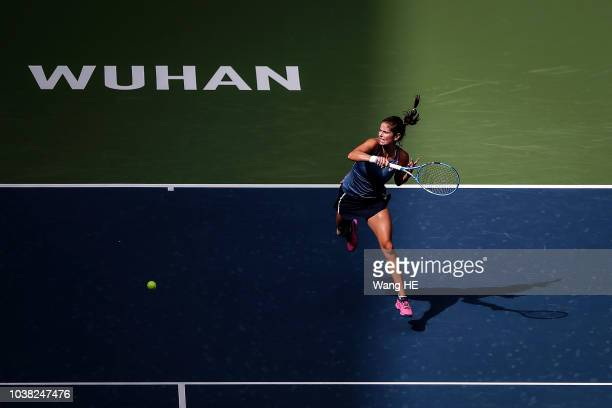 Julia Goerges of Germany returns a shot against Marketa Vondrousova of Czech during 2018 Wuhan Open at Optics Valley International Tennis Center on...