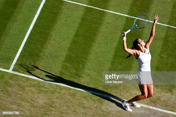 Julia Goerges of Germany serves against Kiki Bertens of the Netherlands during their Ladies' Singles QuarterFinals match on day eight of the...