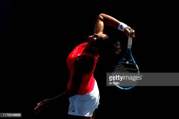 Julia Goerges of Germany serves against Natalia Vikhlyantseva of Russia during their Women's Singles first round match on day two of the 2019 US Open...