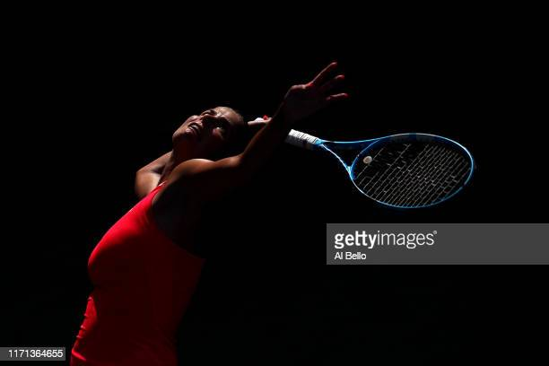 Julia Goerges of Germany serves during her Women's Singles third round match against Kiki Bertens of the Netherlands on day six of the 2019 US Open...