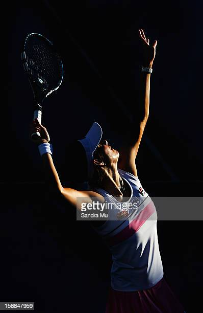 Julia Goerges of Germany serves in her first round match against Anastasija Sevastova of Latvia during day two of the 2013 ASB Classic on January 1...