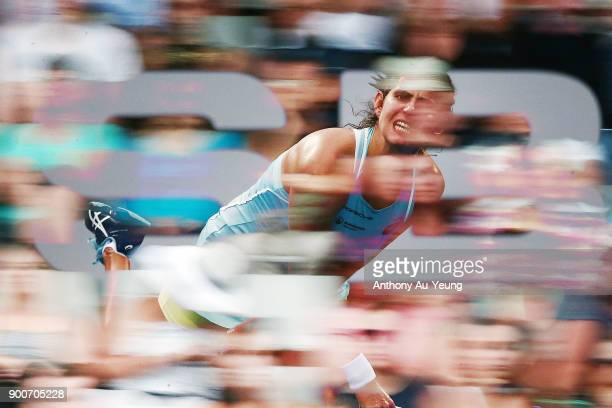 Julia Goerges of Germany serves in her match against Viktoria Kuzmova of Slovakia during day three of the ASB Women's Classic at ASB Tennis Centre on...