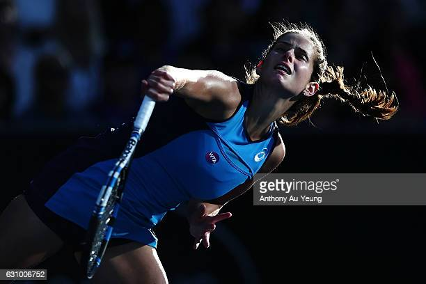 Julia Goerges of Germany serves in her quarter final match against Caroline Wozniacki of Denmark on day four of the ASB Classic on January 5 2017 in...