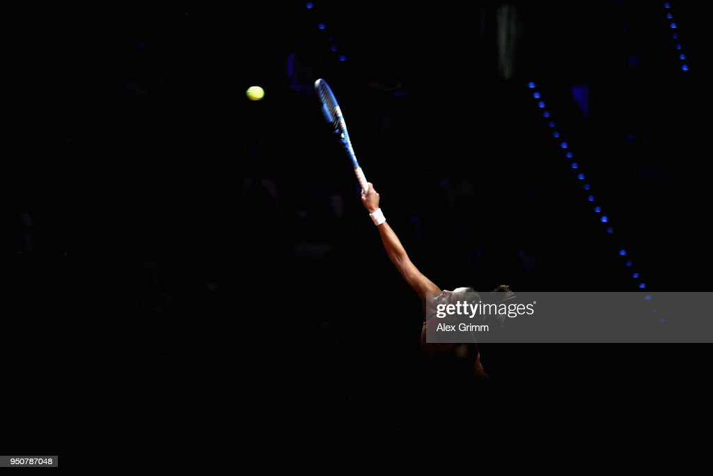 Julia Goerges of Germany serves the ball to Marketa Vondrousova of Czech Republic during day 2 of the Porsche Tennis Grand Prix at Porsche-Arena on April 24, 2018 in Stuttgart, Germany.
