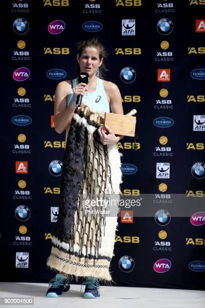 Julia Goerges of Germany speaks following her Womens Singles Final against Caroline Wozniaki of Denmark during day seven of the ASB Women's Classic...