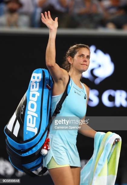 Julia Goerges of Germany walks off the court after losing her second round match against Alize Cornet of France on day three of the 2018 Australian...