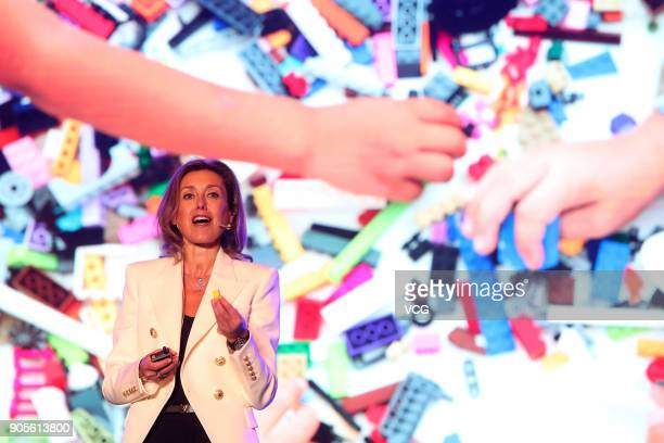 Julia Goldin Chief Marketing Officer of the LEGO Group attends a news conference on January 15 2018 in Beijing China Chinese internet giant Tencent...