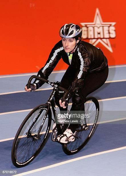 Julia Goldsworthy takes part in a cycling training session at the launch the fourth series of the reality TV show The Games at the English Institute...