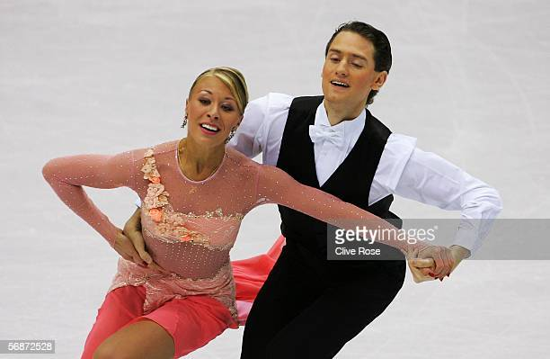 Julia Golovina and Oleg Voiko of Ukraine perform during the compulsory dance program of the figure skating during Day 7 of the Turin 2006 Winter...