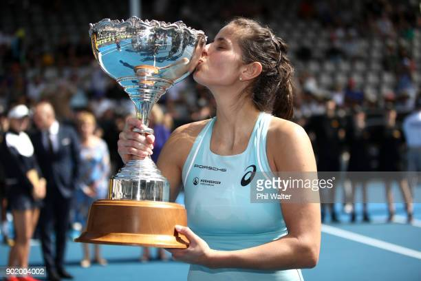 Julia Gorges of Germany poses with the trophy following her Womens Singles Final win against Caroline Wozniaki of Denmark during day seven of the ASB...