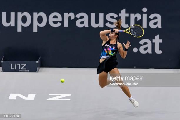 Julia Grabher of Austria in action during Day 2 of the Upper Austria Ladies Linz at TipsArena Linz on November 10, 2020 in Linz, Austria.