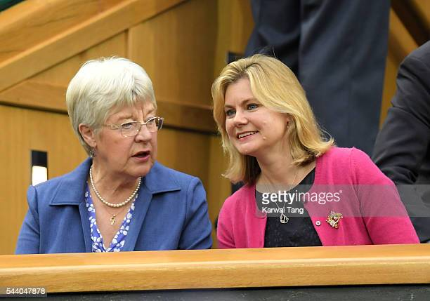 Julia Greening and Justine Greening attend day five of the Wimbledon Tennis Championships at Wimbledon on July 01 2016 in London England