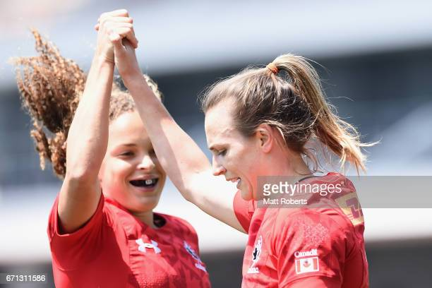 Julia Greenshields of Canada celebrates scoring a try during the HSBC World Rugby Women's Sevens Series 2016/17 Kitakyushu pool match between Canada...