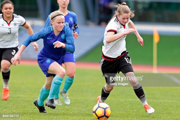 Julia Gärtner of Germany U16 Girls challenges Jaimy Ravensbergen of Netherlands U16 Girls during the match between U16 Girls Germany v U16 Girls...