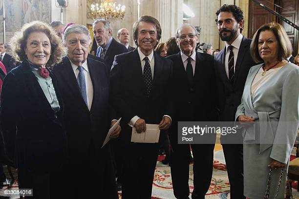 Julia Gutierrez Caba Rafael Anson singer Raphael Emilio Gutierrez Caba Paco Leon and Natalia Figueroa attend the 'Commemoration Of Cervantes Death'...