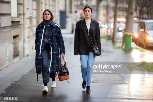 Julia Haghjoo and Sylvia Haghjoo seen outside Alessandra Rich during Paris Fashion Week - Womenswear Fall/Winter 2020/2021 : Day Five on February 28,...