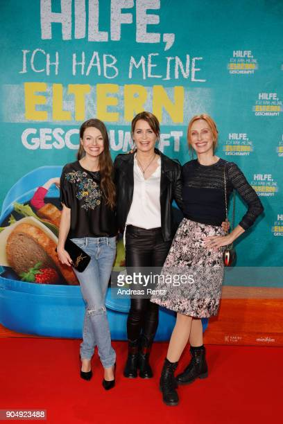 Julia Hartmann, Anja Kling and Andrea Sawatzkiattends the premiere of 'Hilfe, ich hab meine Eltern geschrumpft' at Cinedom on January 14, 2018 in...