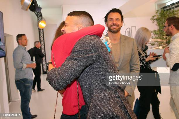Julia Hartmann Kostja Ullmann Stephan Luca during the presentation of the new Range Rover Evoque at Berlin Bridge Studios on March 28 2019 in Berlin...